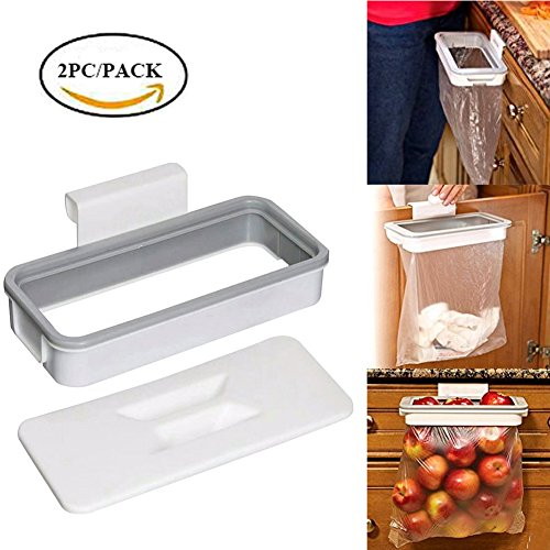 Easyinsmile 2pcs/pack Plastic trash rack Portable Hanging Organizer Trash Bag Holder with Lid