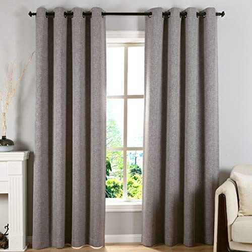 Kotile Grommet Room Darkening Curtains for Texture Drapes Linen Effect, 2 Panels Home Decor Window Luxurious Panels with Thermal Insulated for Living Room Curtain (W52 X L84 Inches, Grey) ()