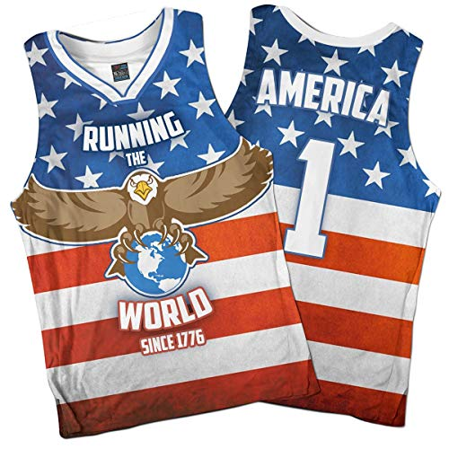 57bbe5b6d Greater Half: Running The World Basketball Jersey America Jersey #1  (S-XXXXL) Blue