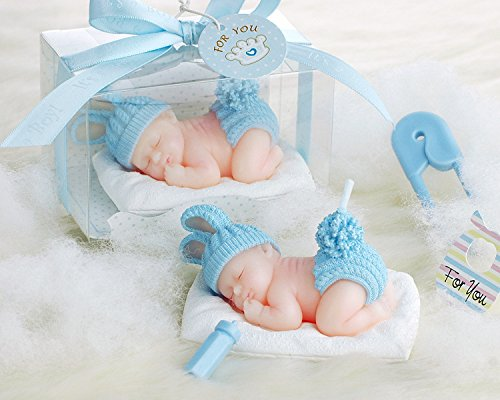 AiXiAng Handmade Adorable Sleeping Baby Boy Blue Style Smokeless Baby Shower Baby Birthday Cake Topper Candle , Baby Shower Party Favors Decorations