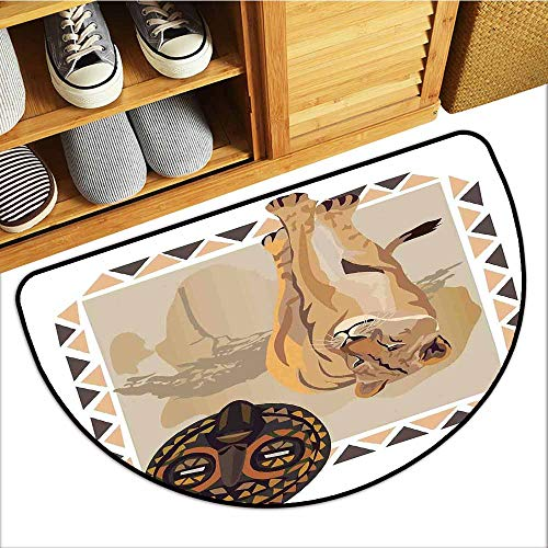 (Axbkl Pet Door mat Safari Tiger with African Tribal Icon Ethnic Patterns Wild Nature Art Illustration with Anti-Slip Support W31 xL20 Cream Beige Brown)
