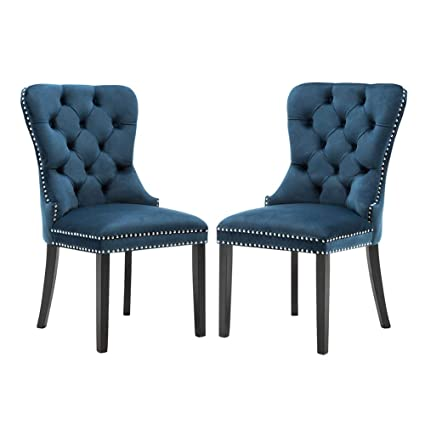 Velvet Dining Room Chairs Upholstered Elegant Tufted Chair With Nailed Trim Velvet Accent Chair Set Of 2 Navy Blue