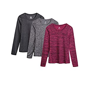 icyzone Women's Workout Yoga Long Sleeve T-Shirts With Thumb Holes (Black Heather/Charcoal/Red Bud, L)
