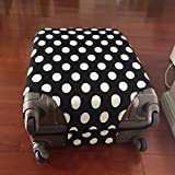 yazi Fashion Luggage Bag Washable Dust Proof Travel Suitcase Protector Cover Black White Polka Dots L 26-28 Inch