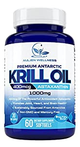 Pure Antarctic Krill Oil 1000mg Per Serving | Astaxanthin | Omega 3 | DHA | Phospholipids | Cold Pressed For Maximum Nutrients | Higher Absorption Than Fish Oil | No Mercury |Sustainable Harvested