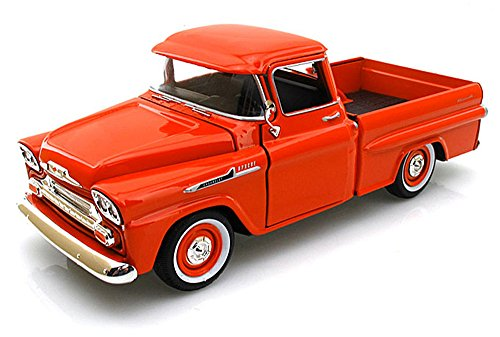(Showcasts Collectibles 1958 Chevy Apache Fleetside Pickup Truck 1/24 Scale Diecast Model Car Orange)