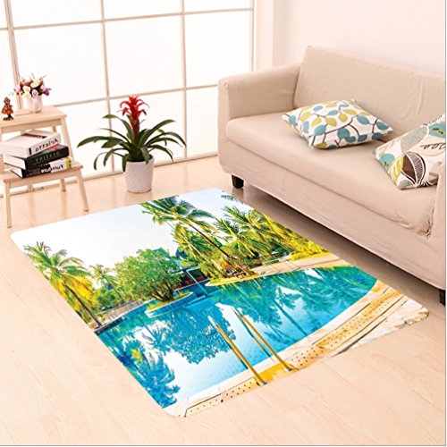 Nalahome Custom carpet ella And Chair Around The Round Outdoor Pool Tourist Space Famous Spots Concept Green Blue Cream area rugs for Living Dining Room Bedroom Hallway Office Carpet (6' X 9')