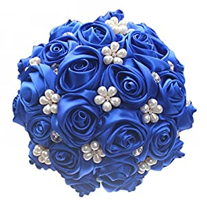 MOJUN Customization Sapphire Wedding Bouquets Silk Flowers Bridal Holding Bouquets Satin Roses Bride Bridesmaid Brooch Bouquet Decor Pearl Crystal Crystal with Wrist Flower 14
