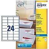 Avery J8159-25 Self-Adhesive Address/Mailing Labels, 24 Labels per A4 Sheet