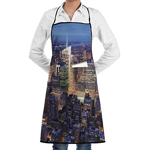 Grill Aprons Kitchen Chef Bib - SarahKen New York Aerial View Of NYC Full Of Skyscrapers Manhattan Times Square Famous Cityscape Professional For BBQ Baking Cooking For Men Women - Times In Nyc Square Stores