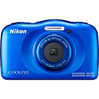 Beach Camera Nikon COOLPIX W100 13.2MP Waterproof Digital Camera (Blue) + 64GB Class 10 UHS-1 SDXC Memory Card + Accessory Bundle from Nikon