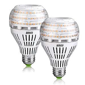 SANSI 27W (250 Watt Equivalent) A21 Omni-Directional Ceramic LED Light Bulbs, 3500 Lumens, 3000K Soft Warm White Light, E26 Medium Screw Base Floodlight Bulb, Home Lighting, Non-dimmable (2 Pack)