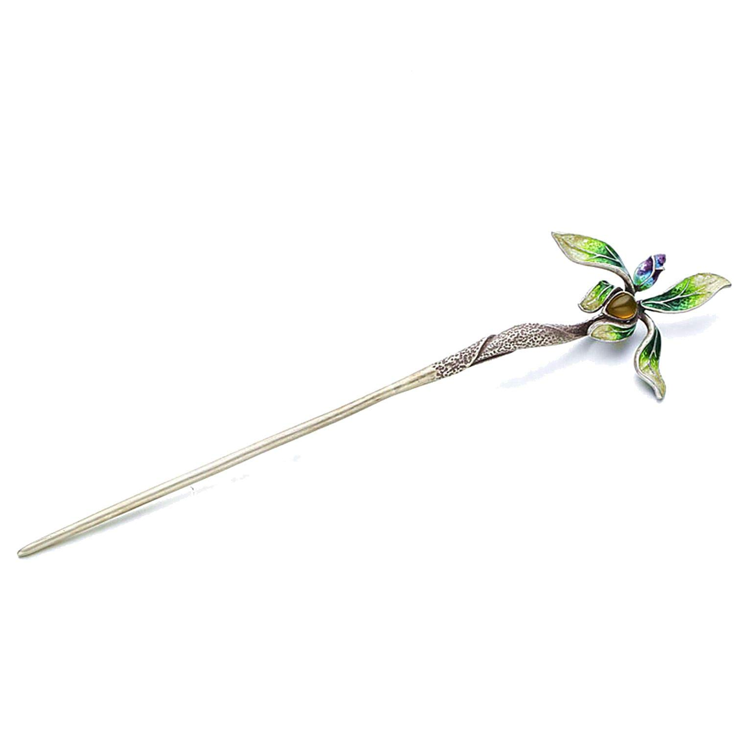 Orchid Stone Inlay Cloisonne Thai Silver Hair Stick Vintage Silver Chinese Hairpin Flower Hair Fork Female,Green