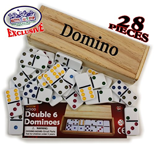 Deluxe Double Six (6) Color Dot, White Dominoes 28 Piece Set in (28 Piece Domino Sets)