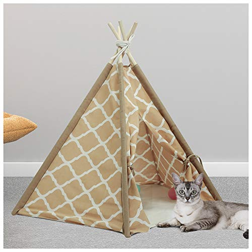 UKadou Cat Dog Teepee Portable Pet Teepee Tents for Dogs Cats, Washable Canvas Material with Floor mat 24in