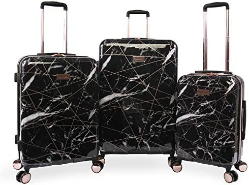 Juicy Couture Women s Vivian 3 Piece Hardside Spinner Luggage Set, Black Marble Web, One Size