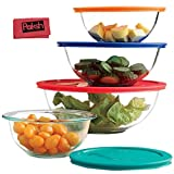 8-Piece Glass Mixing Bowls With Lids | Glass Food Storage Containers | Dishwasher, Oven and Microwave Safe, Clear - Bundled with French Whisk & Cloth