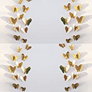 3d Butterfly Stickers 3D Art Murals Gold Butterfly for Wall,36 Pieces