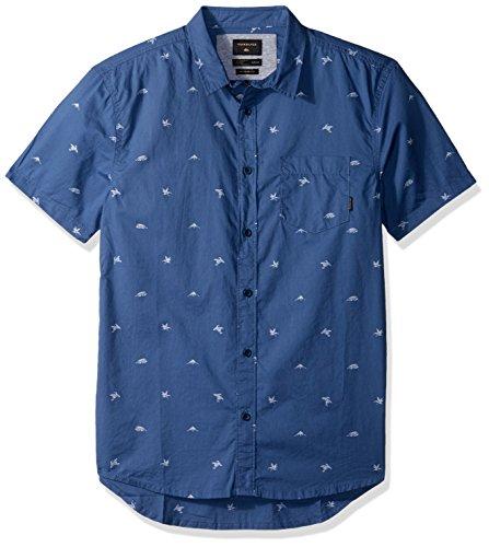 Quiksilver Men's Fuji Mini Motif Short Sleeve Button Down Shirt, Bijou Blue Fuji Mini Mo, XXL by Quiksilver