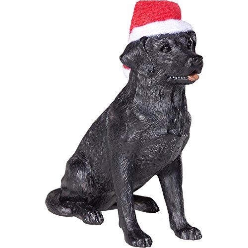 Sandicast Black Labrador Retriever with Santa Hat Christmas (Black Labrador Retriever Figurine)