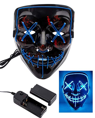 Apipi Halloween LED Light up Mask-Frightening EL Wire Cosplay Mask for Festival Parties (Blue) ()
