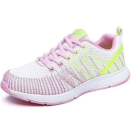 Mujers Zapatillas de Deportivo Sneakers Running Cordones Zapatos para Correr Malla Calzado Atletismo Fitness Casual Verano Negro Gris Rosa Blanco 35-40 Blanco(modelo Delgado, Por Favor Elija El Tamaño 1-2)