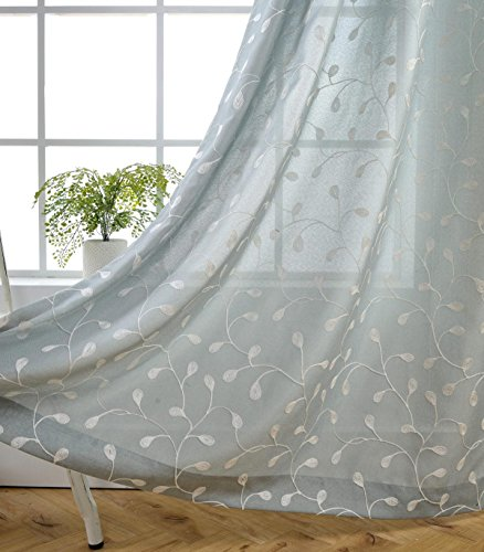 Miuco Floral Embroidered Semi Sheer Curtains Linen Look Grommet Window Curtains for Bedroom 52 x 95 Inch 2 Panels, Sea Foam