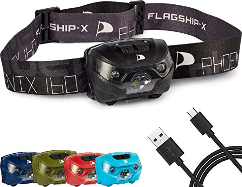 Flagship-X Phoenix Rechargeable Waterproof LED Camping Headlamp Flashlight For Running - Black