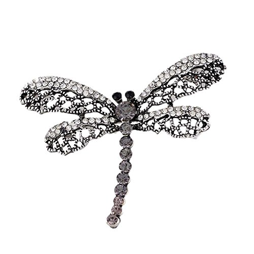 - Lakke Vintage Black Dragonfly Brooch Women Insect Jewelry Hollow Out Rhinestone Brooches Broches Ladies Lapel Hijab Scarf Banquet Pin Silver Plated