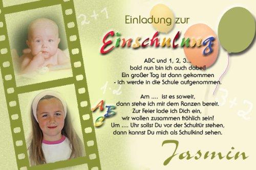 Schön Individuelle Fotokarten Als Einladung Zur Einschulung, Einschulungskarte,  Einladung Zur Einschulung Im Format 10x15 Cm Inkl. Hochwertigem Farbigen C6  ...