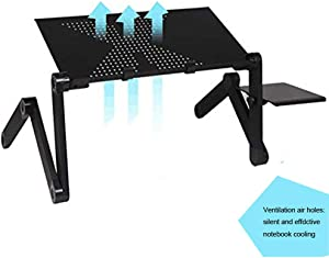 Laptop Desk for Bed and Couch, Portable Adjustable Laptop Stand with Vent Holes and Mouse Pad Side, Ergonomics Design Aluminum TV Bed Lap Tray up to 17in, Black