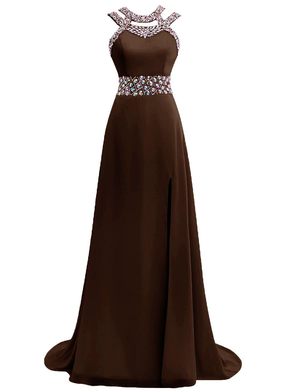 JAEDEN Long Prom Dresses Chiffon Bridesmaid Dress Beaded Formal Evening Dress With Split Chocolate US14
