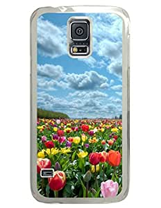 Beautiful Tulips Garden DIY Hard Shell Transparent Samsung Galaxy S5 I9600 Case Perfect By Custom Service
