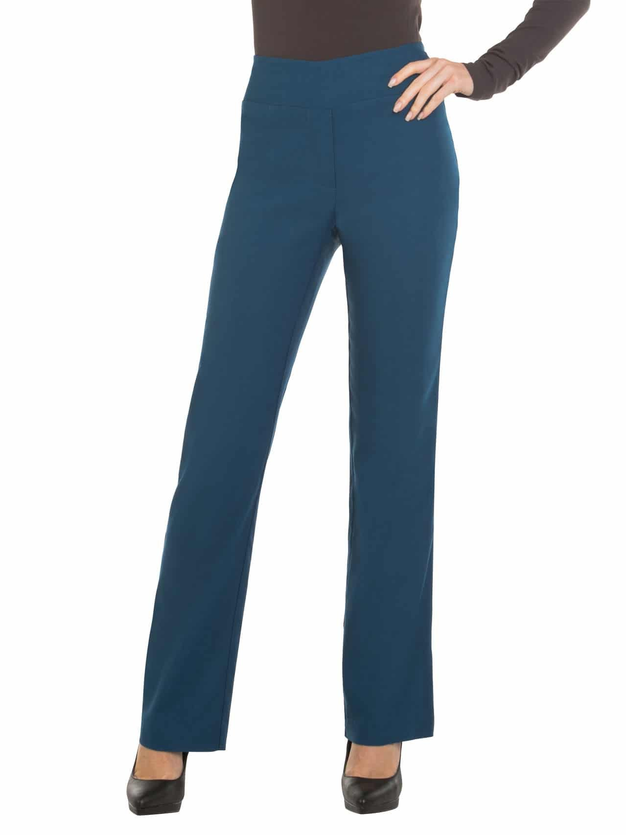 Red Hanger Bootcut Dress Pants for Women -Stretch Comfy Work Pull on Womens Pant Teal-M