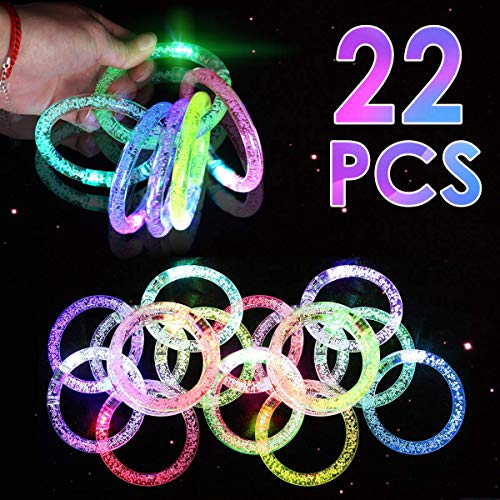 22 Pack LED Grow Bracelets Light Up Party Favors Glow Toys Supplies for Wedding, Birthday Party, Concert, Night Games Fun Events Glow in The Dark Party Supplies for Adults Kids
