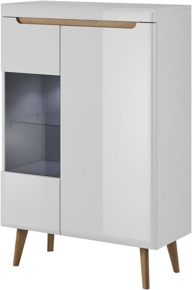 Artisan Eiche Furniture24 Vitrine NORDI Vitrinenschrank Standvitrine in Mit LED Beleuchtung