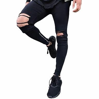 Qmber Jeans Herren Slim Fit Schwarze Skinny Destroyed Hose