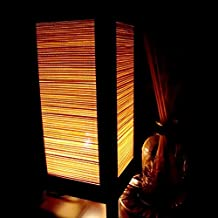 Original Weave Real Bamboo Handmade Asian Oriental Wood Table Lamp Paper Gift Bedside Night Light Bulbs Bedroom Accessories Home Decor Living Room Bedside Homemade Art Garden Outdoor Floor Japanese Modern Vintage Christmas; Canada Plug Only #256