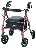 Carex Rolling Walker with Padded Seat and Backrest, Height Adjustable Handles, Folds for Storage & Transport, 250 Pound Weight Capacity