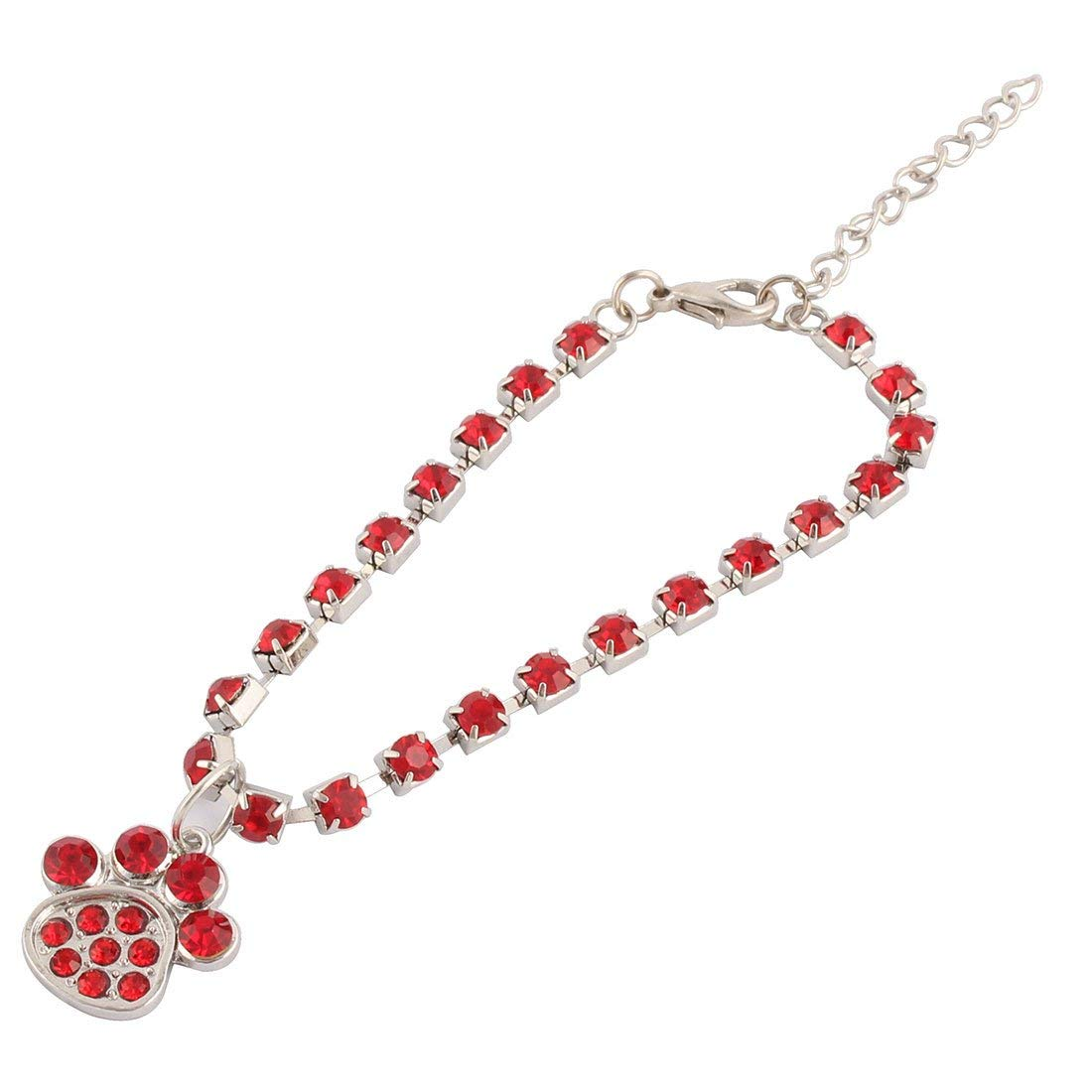Rhinestone Laid Metal Outdoor Cat Paw Pendent Decoration Pet Necklace Bracelet Red