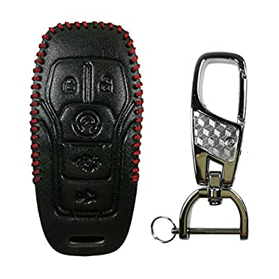 Coolbestda Leather Key Fob Cover Case Remote Keyless Entry Holder Skin Jacket for Ford F-150 Fusion Explorer Lincoln MKZ Mustang MKC M3N-A2C31243300 5button Smart Key: Automotive