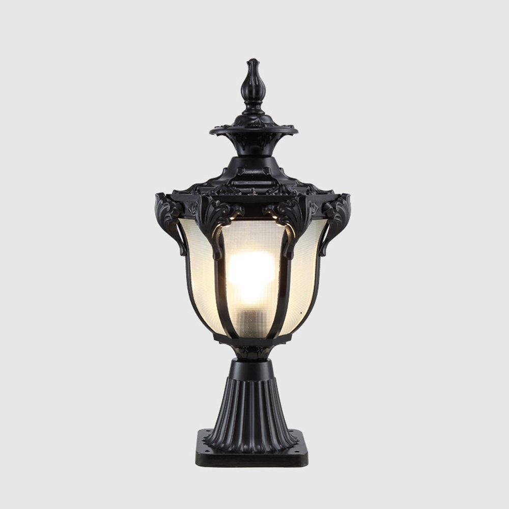 Modeen Tradition Victoria Antique Glass Lantern Outdoor Table Lamp Column Lamp Durable Aluminum Waterproof Continental Villa Patio Park Garden Light Landscape Lawn Lights (Color : Black)