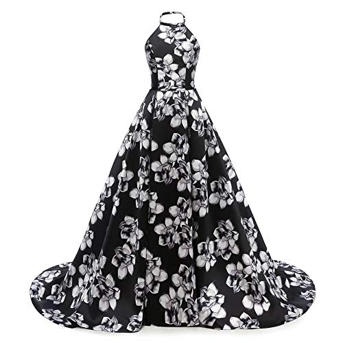 Dydsz Evening Prom Dresses for Women Halter Party Formal Gowns Backless Print Floral D295 Halter 26 - Halter Print Gown