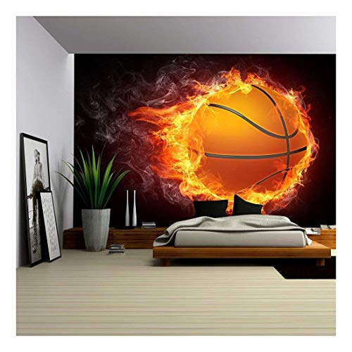 wall26 - Basketball Ball on Fire. 2D Graphics. Computer Design. - Removable Wall Mural | Self-Adhesive Large Wallpaper - 66x96 inches - Mural Designs