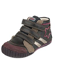 D.D. Step Girls' trendy boots, black, genuine leather, toddler and little kid size (036-21A)