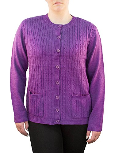 Knit Minded Long Sleeve Two Pocket Cable Knit Cardigan Sweater Lavender L