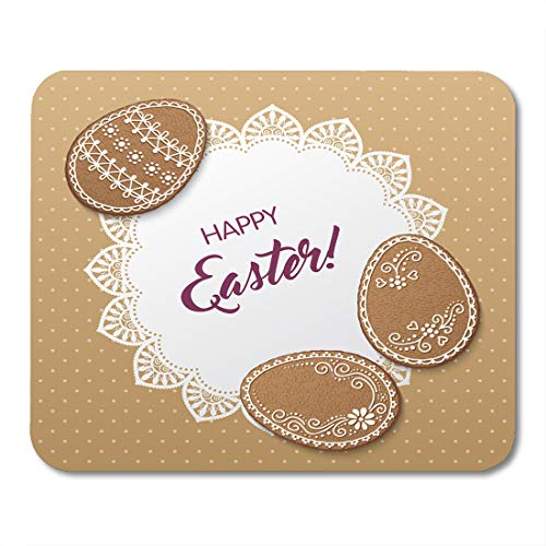 Nakamela Mouse Pads Border Baked Happy Easter with Polka Dot Lacy Doily and Egg Shaped Gingerbread Cookies Biscuit Cake Mouse mats 9.5