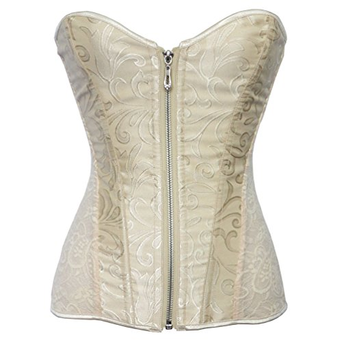 Romady Women's Lace Zipper Strapless Overbust Steel Boned Corset Top X-Large Apricot -