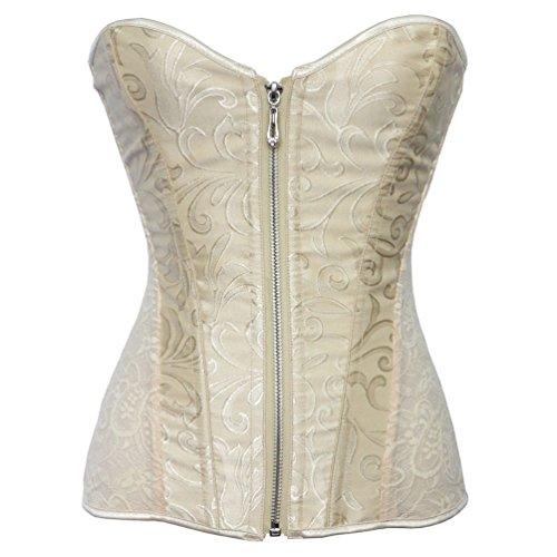 (Romady Women's Lace Zipper Strapless Overbust Steel Boned Corset Top XX-Large)