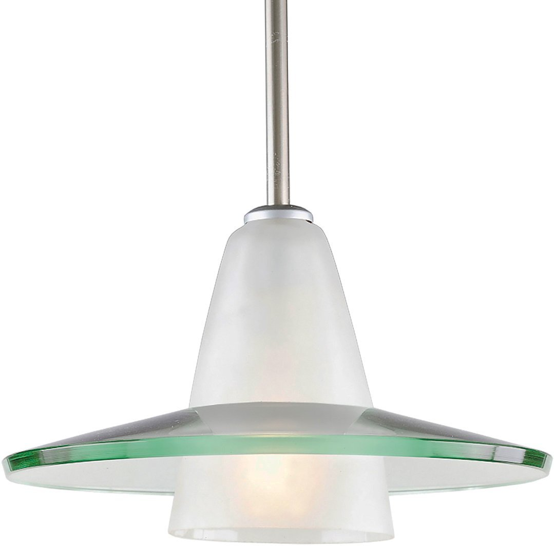 Luxury Contemporary Pendant Light, Large Size: 7.5''H x 12''W, with Art Deco Style Elements, Brushed Nickel Finish and Clear Shade, UHP2430 from The Honolulu Collection by Urban Ambiance